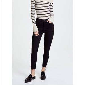Mother high rise blck stunner fray ankle jeans
